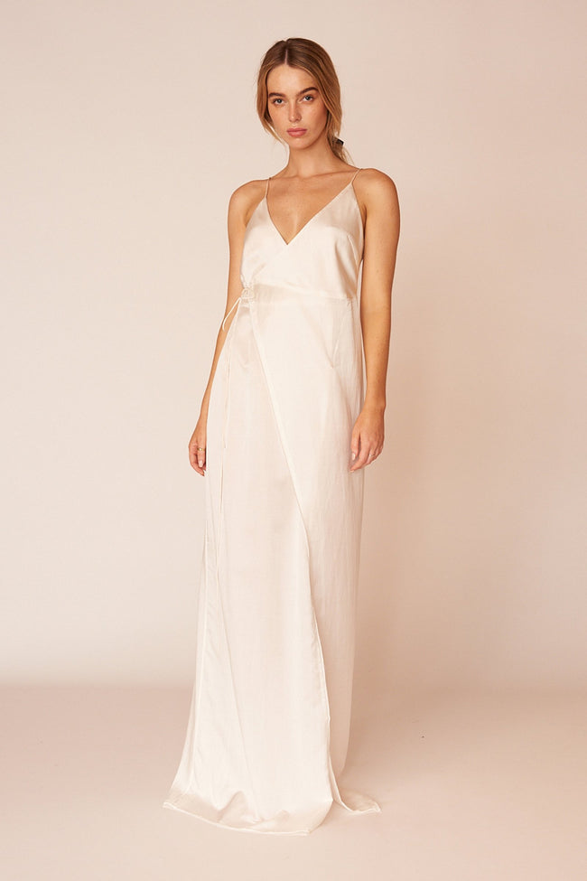 Matisse Minimalist Sustainable White Silk Maxi Dress