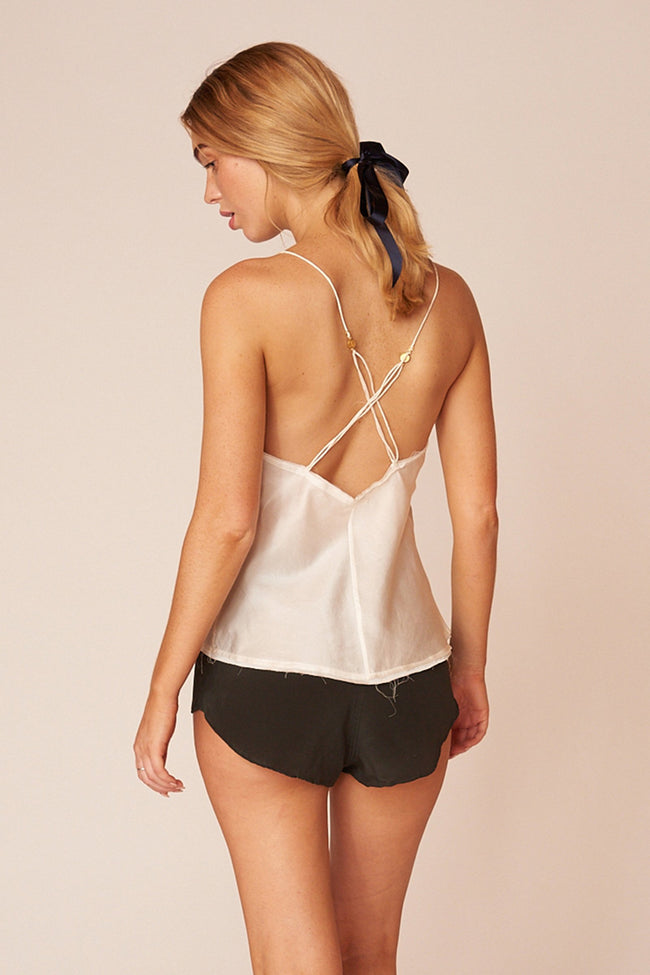 O'Keefe Minimalist Sustainable White Silk Cami Top