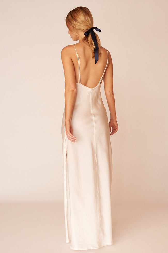 O'Keefe Minimalist Sustainable White Silk Maxi Dress
