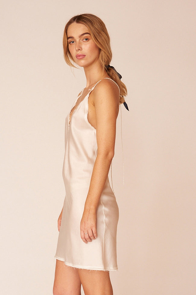 O'Keefe Minimalist Sustainable White Silk Mini Dress