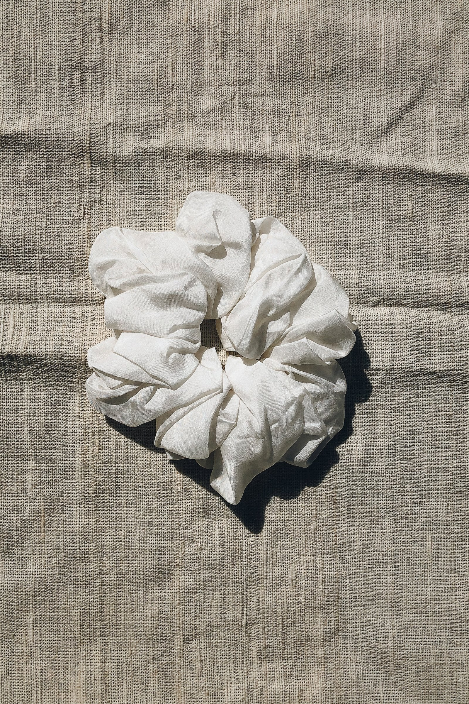 Sustainable Silk Ivory Scrunchie Small
