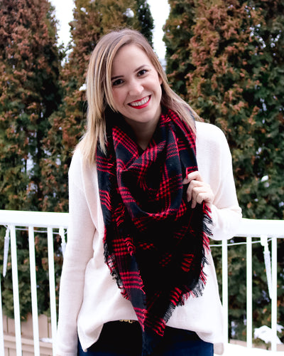 Red & Black Plaid Blanket Scarf