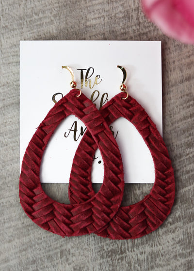 The Sparkling Antler - Burgundy Woven Hoop Leather Earrings