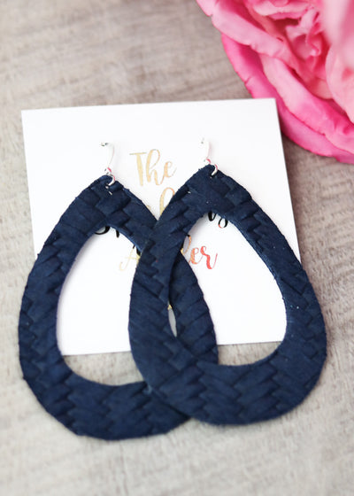 The Sparkling Antler - Navy Woven Hoop Leather Earrings