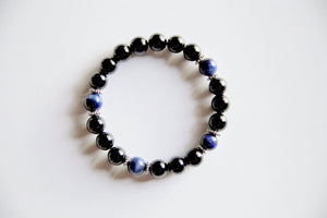 Black Onyx & Blue Tiger's Eye Bracelet for Stress & Cleansing - SeeThru™