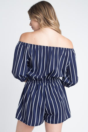 Off Shoulder Stripe Romper - SeeThru™
