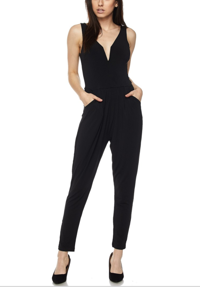 Black V-Neck Jumpsuit - SeeThru™