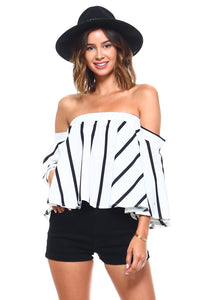Chic Vertical Striped Off Shoulder Blouse 2019 Collection