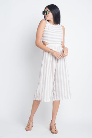Oppo-Striped Sleeveless and & Side Cutout Jumpsuit 2019 Collection - SeeThru™