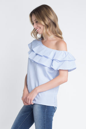Bare-Shoulder Ruffle Blouse w/ Light Stripes 2019 Collection - SeeThru™