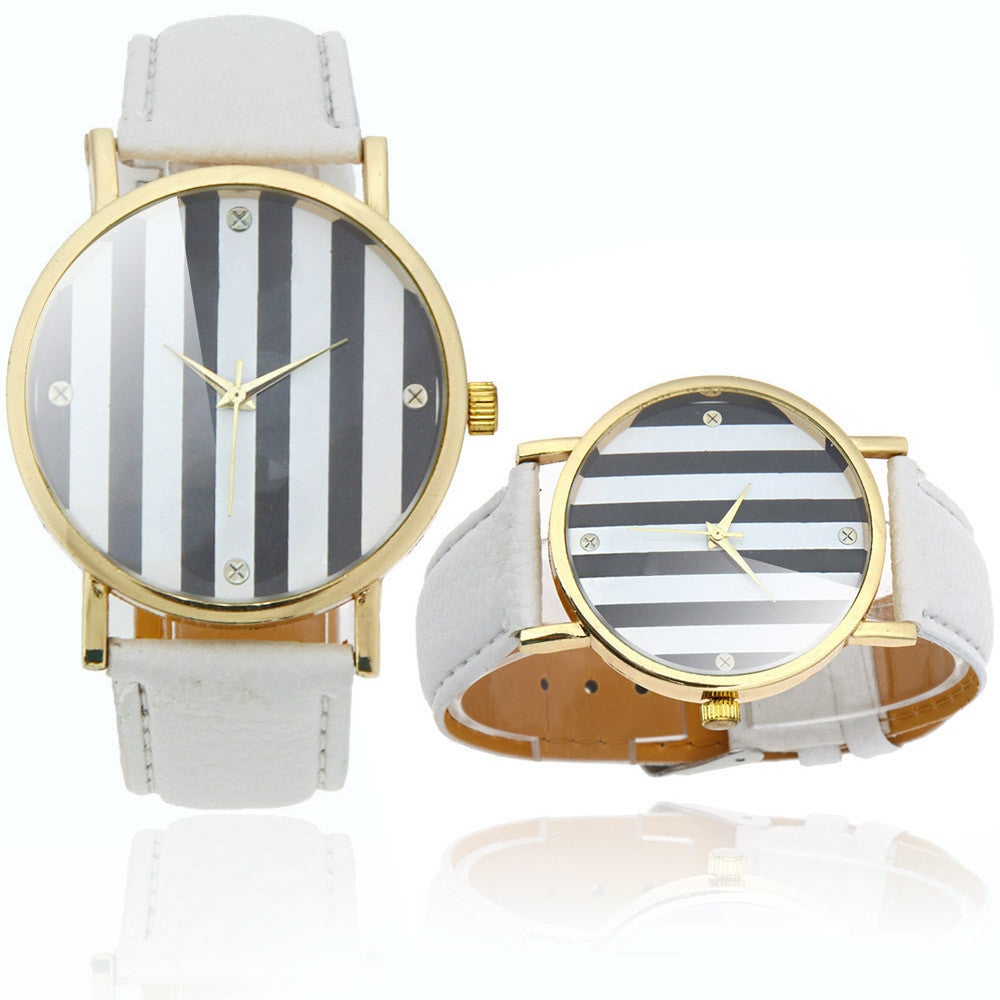 Striped Chronograph Wristwatch w/ White Vegan Leather - SeeThru™