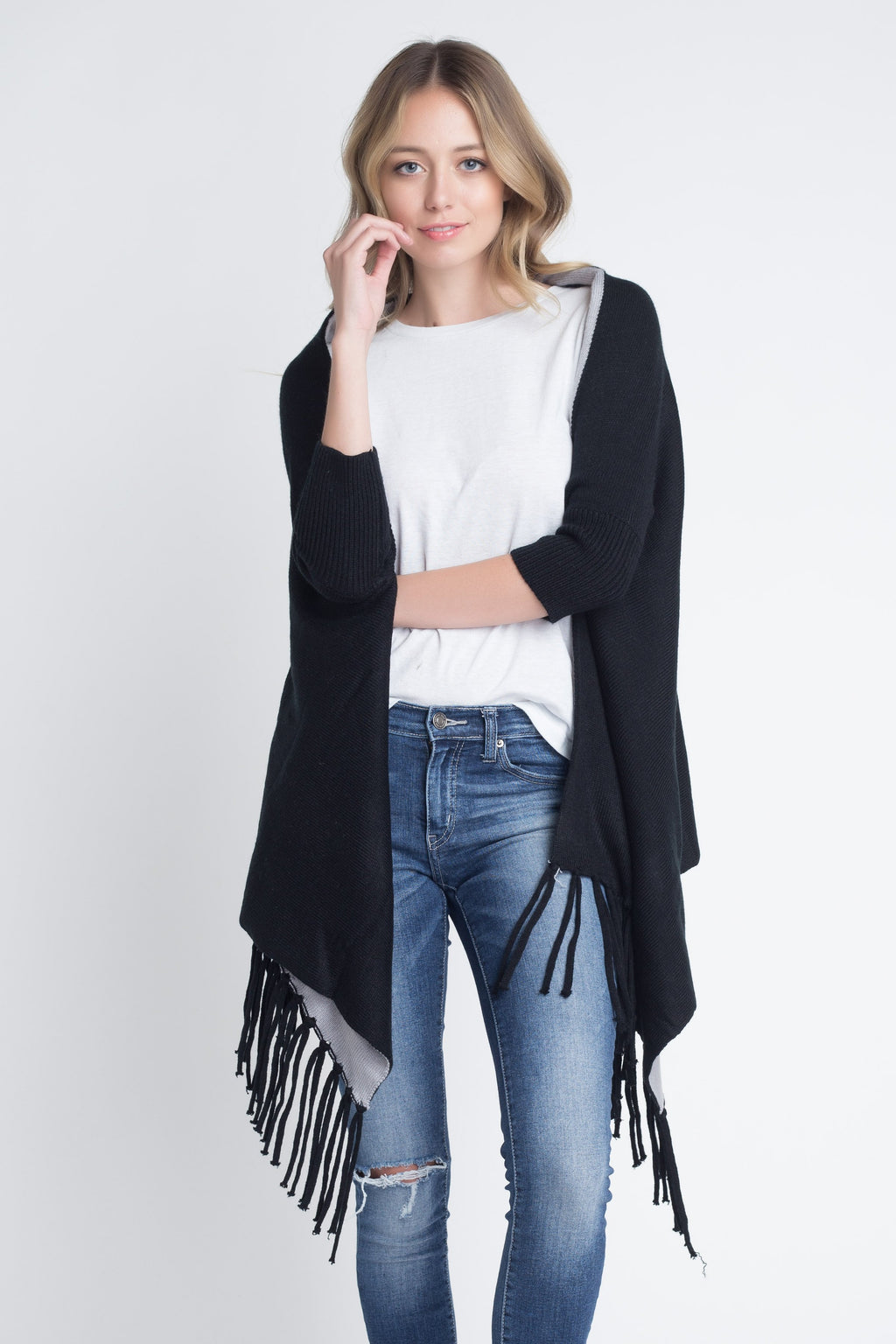 Three Quarter Knit Fringe Poncho Sweater - SeeThru™
