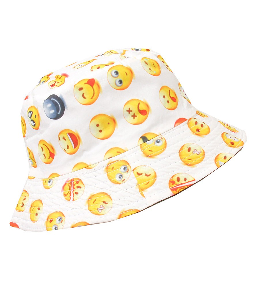 White Android Emoji Bucket Hat