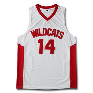 Troy Bolton #14 East High School Wildcats White Basketball Jersey - SeeThru™