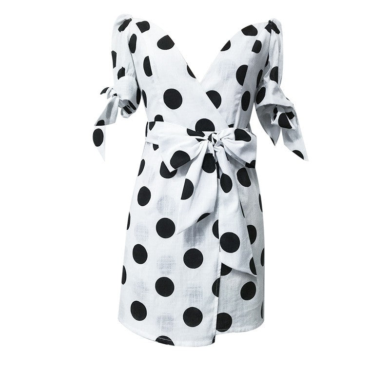 White & Black Large Polkadot Sleeved Romper 2019 Collection - SeeThru™