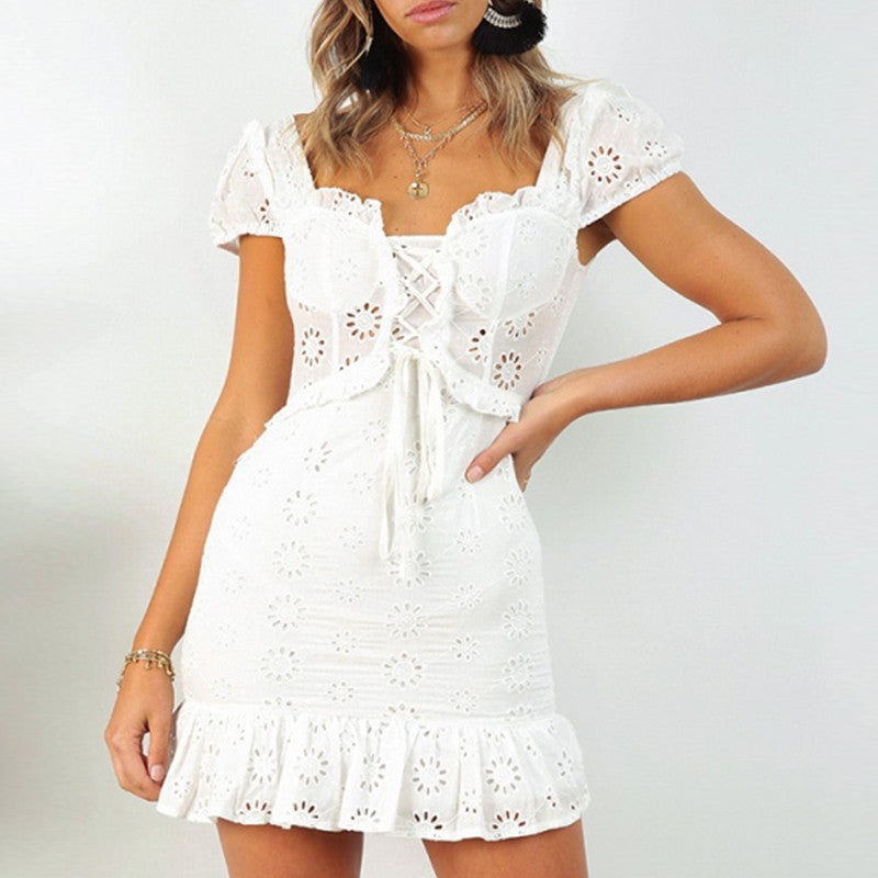 Embroidery White Lace Sleeved Romper 2019 Collection - SeeThru™
