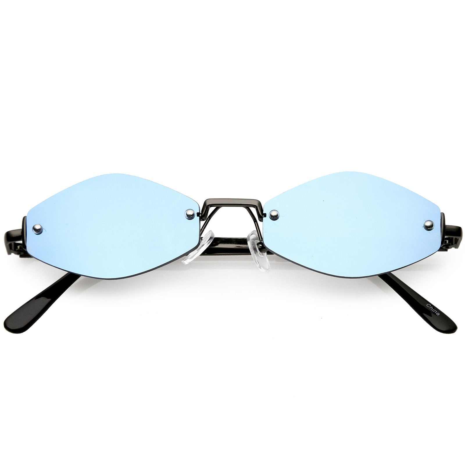 Geometric Rimless Sunglasses with Mirrored Lenses - SeeThru™