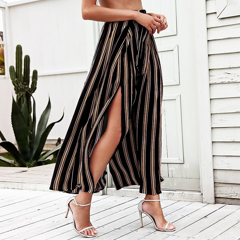 Mid-Waist Striped Flow Pants w/ Cut - SeeThru™