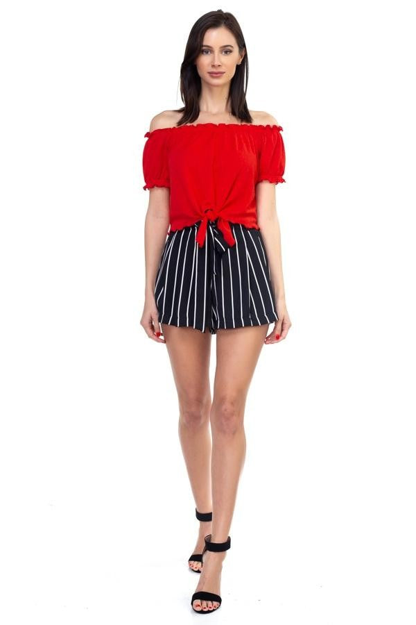 Striped Woven Mini Shorts - SeeThru™