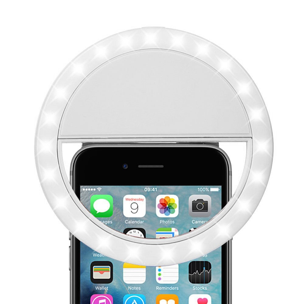 Rechargeable Selfie LED Camera Ring Light (White) - SeeThru™