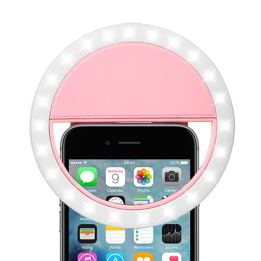 Rechargeable Selfie LED Camera Ring Light (Pink)