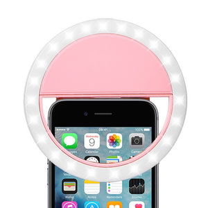 Rechargeable Selfie LED Camera Ring Light (Pink) - SeeThru™