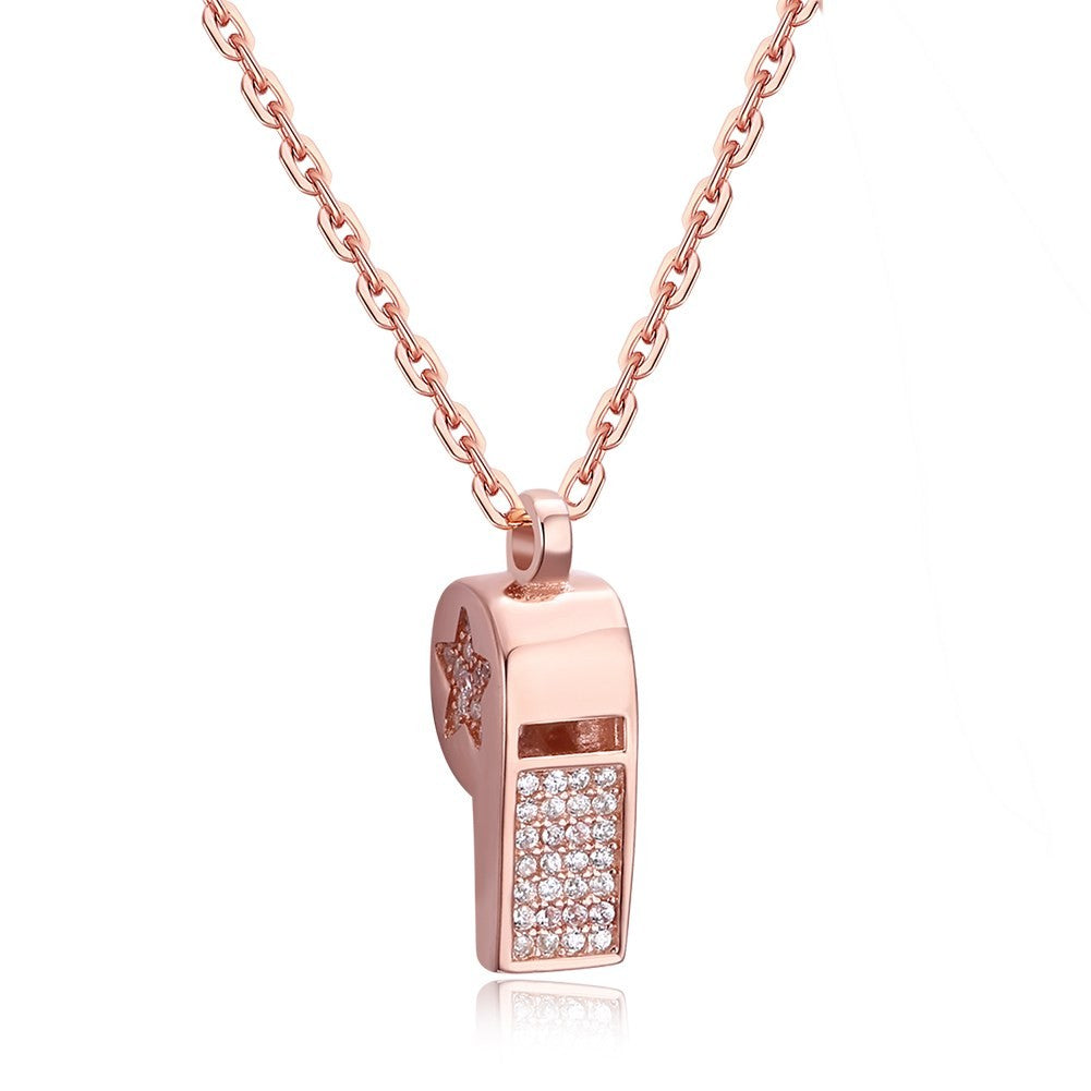 Iced Out Rose Gold Soccer Whistle Necklace