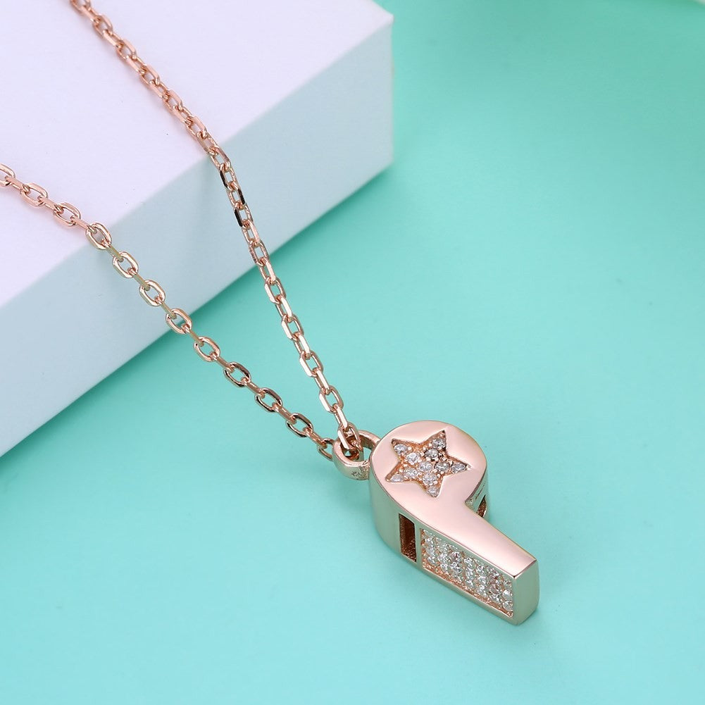 Iced Out Rose Gold Soccer Whistle Necklace - SeeThru™