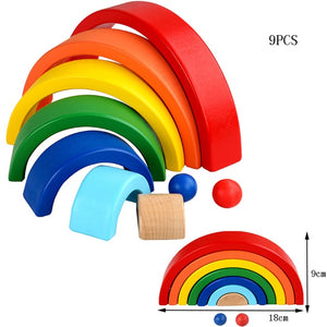 Baby Toy Wooden Toy Montessori Rainbow Building Blocks - Seed Kids Clothing