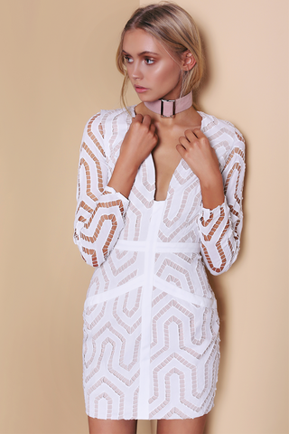 Ornate Dress - White