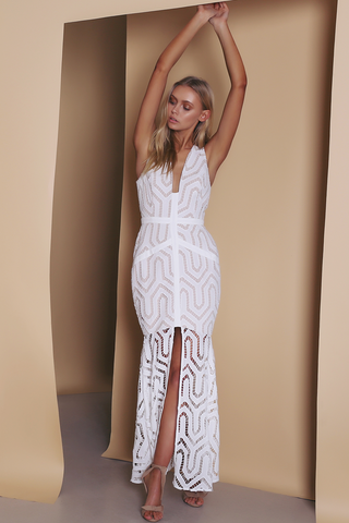 Ornate Evening Dress - White