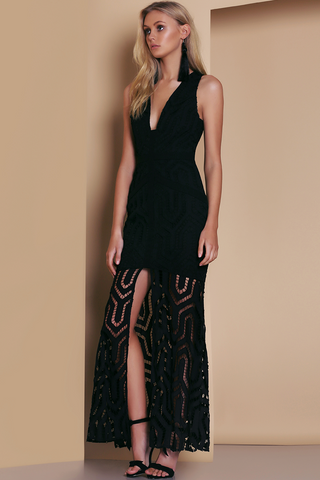 Ornate Evening Dress - Black