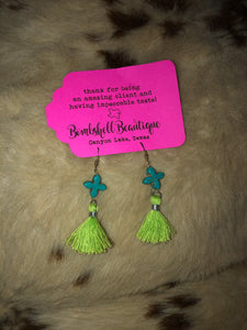 Turquoise and Lime Cross Earrings