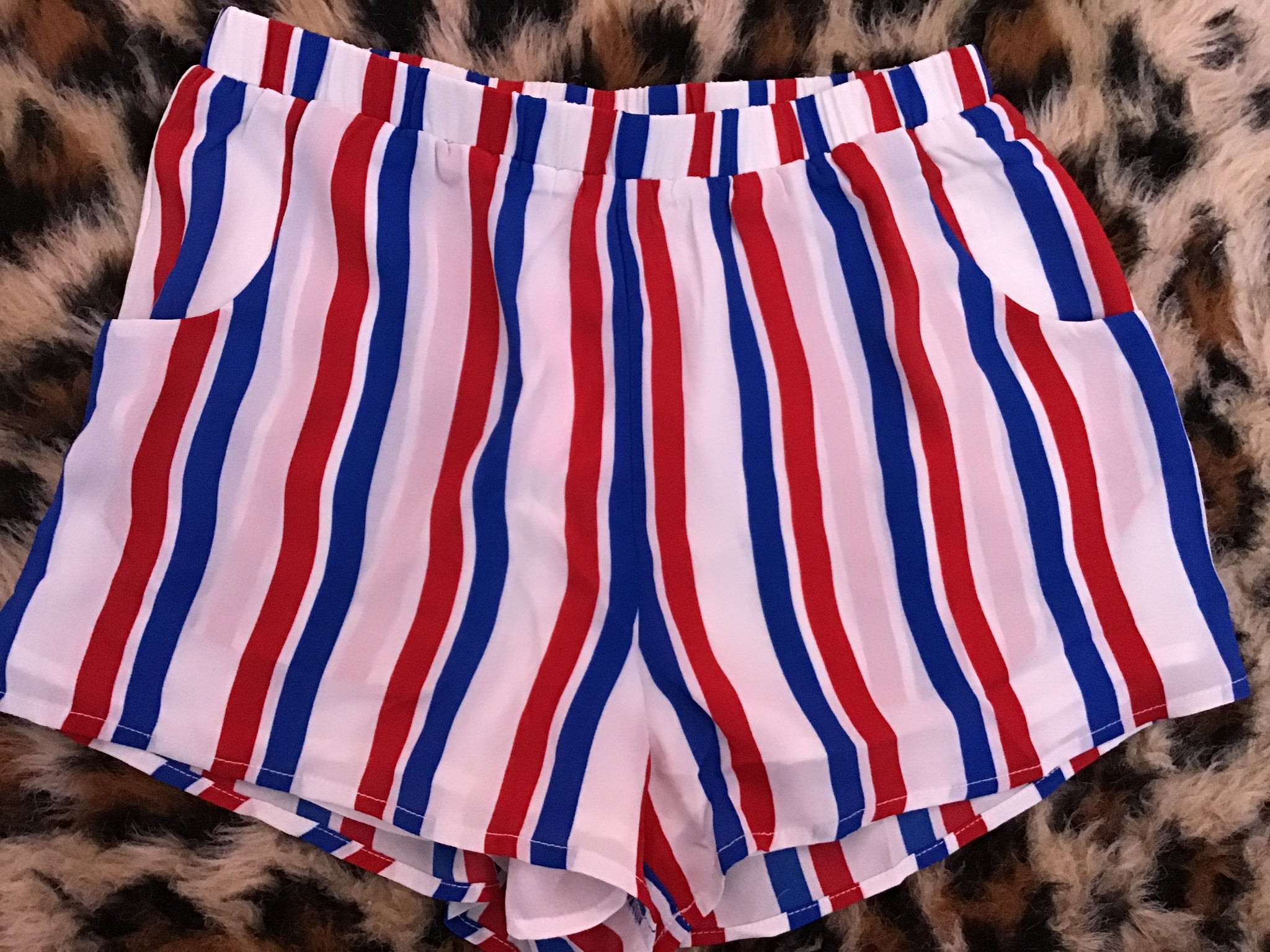 Red White and Blue Stripe Shorts