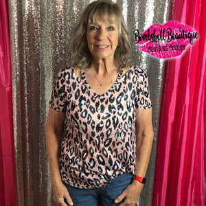 Pink Leopard Knotty Top