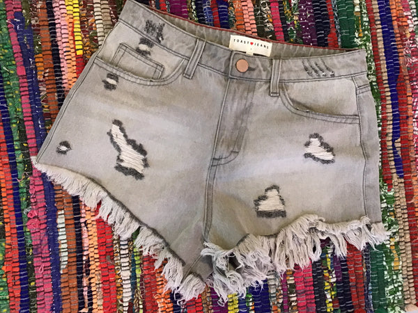 Distressed Grey Shorts