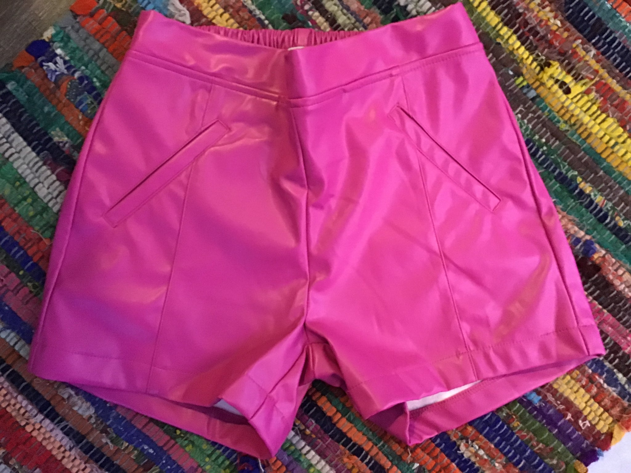 Pink Leather Shorts