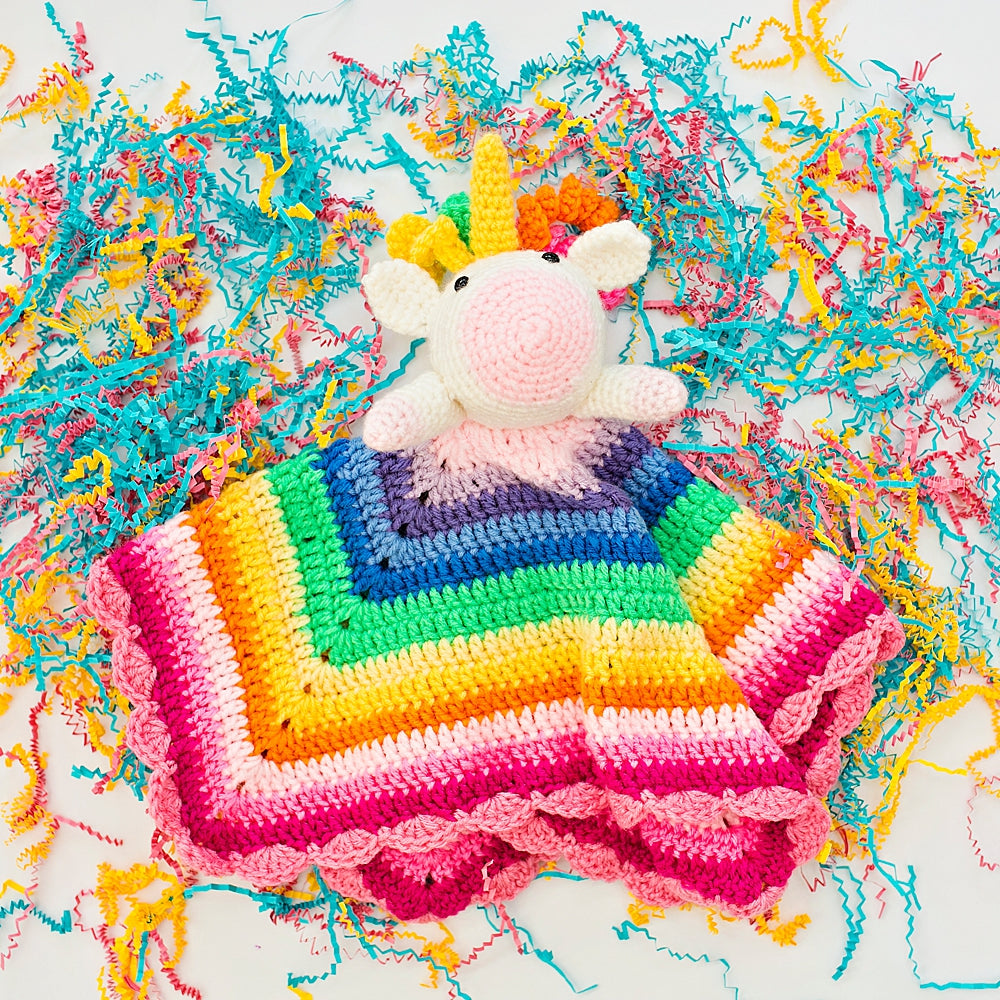 Rainbow Unicorn Crochet Lovey Blanket