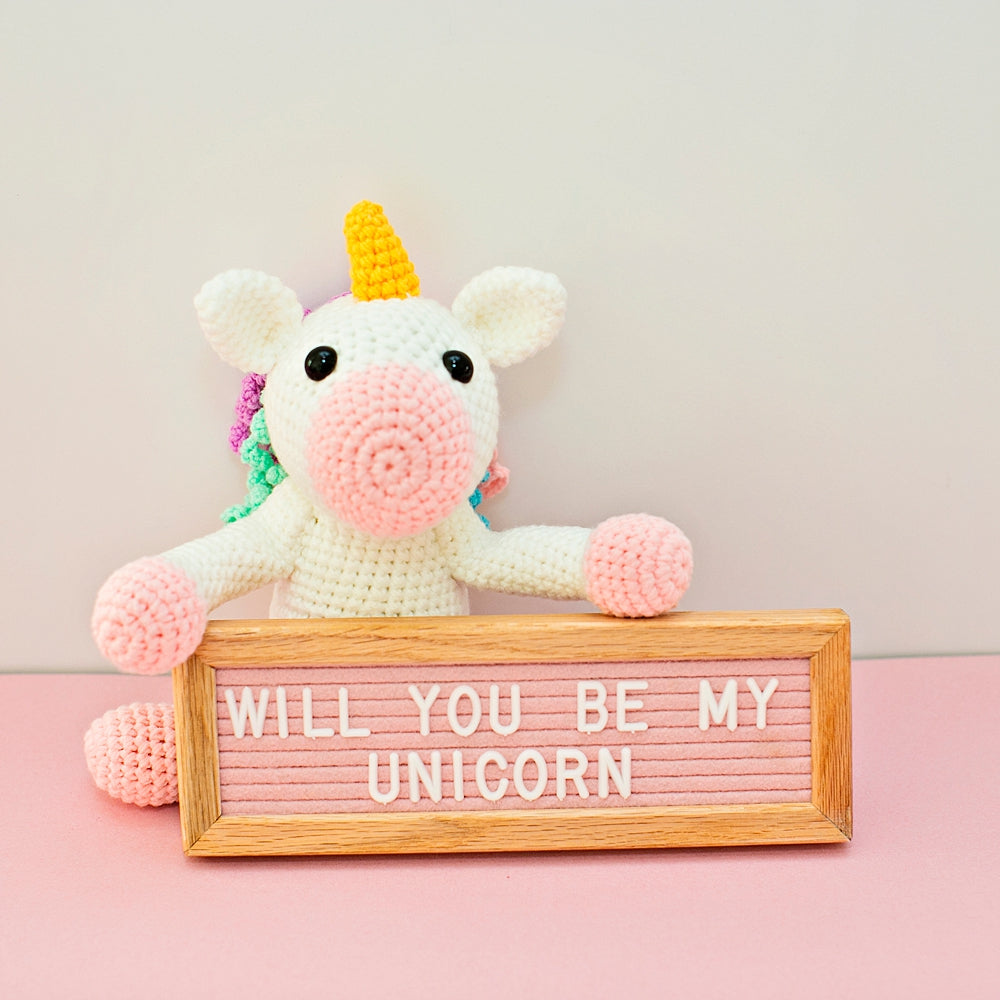 Twinks Crochet Unicorn With Felt Letterboard
