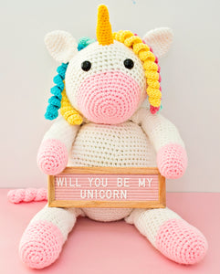 Giant Aurelia Crochet Unicorn With Felt Letterboard