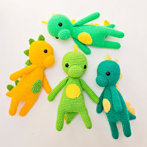 Bright Green Crochet Dinosaur