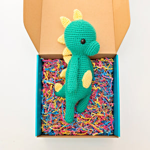 Blue Green Crochet Dinosaur