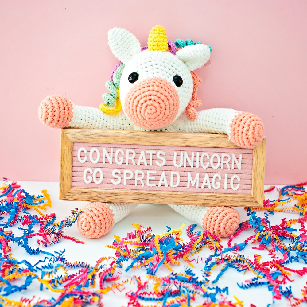 Crochet Unicorn Graduation Gift With Letterboard
