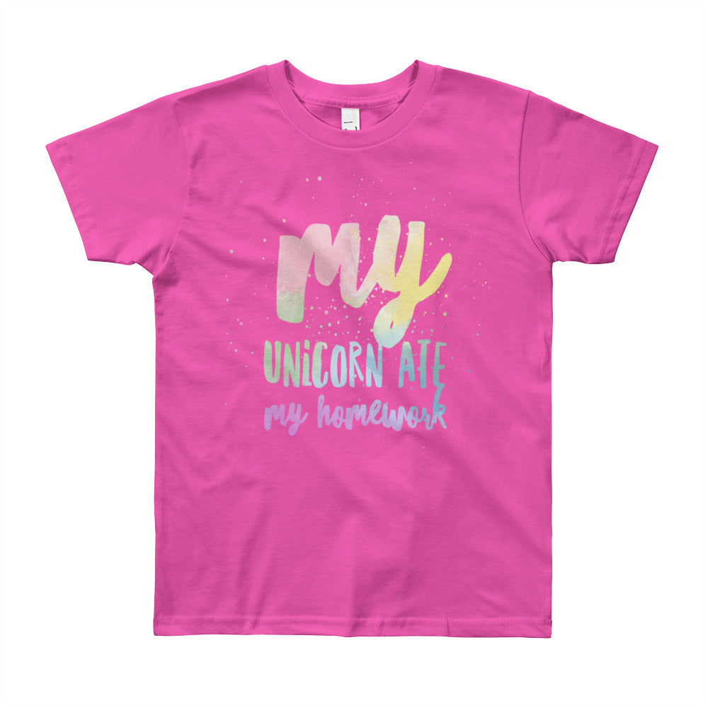Unicorn Ate My Homework Rainbow Kids Tee