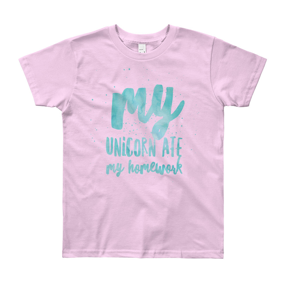 Unicorn Ate My Homework Kids Tee