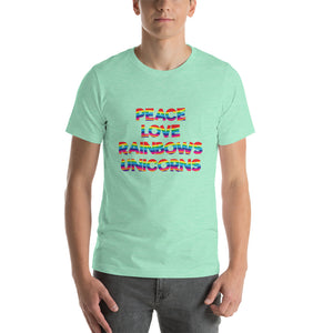 Peace Love Rainbows Unicorns Adult Tee