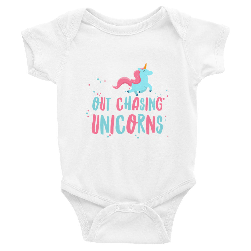 Out Chasing Unicorns Baby Onesie
