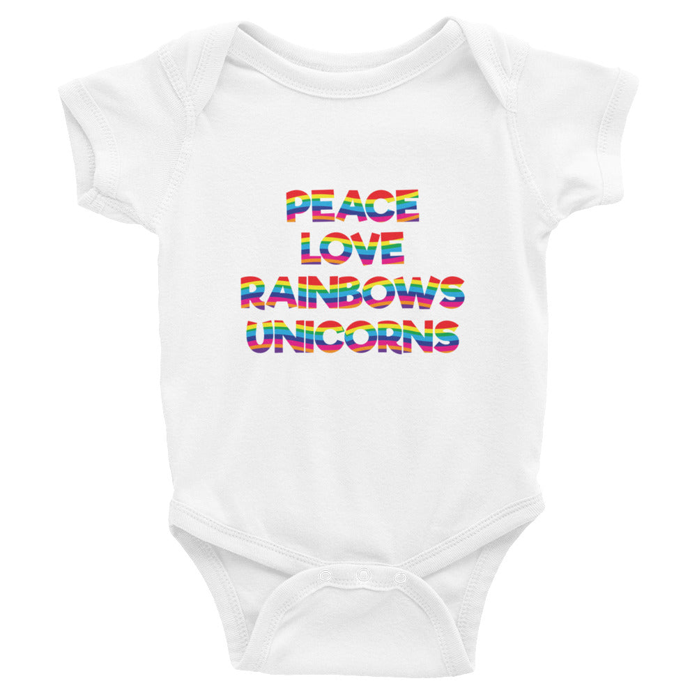 Peace Love Rainbows Unicorns Baby Onesie