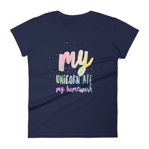 Unicorn Ate My Homework Rainbow Women's Tee