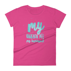 Unicorn Ate My Homework Women's Tee